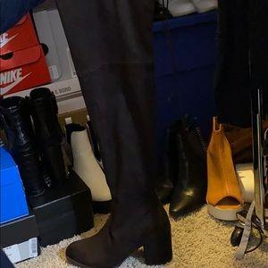 Dark brown over the knee boots